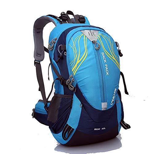 HWX Wanderrückpack, wasserdichter Rucksack Outdoor Sports Bergsteigen Camping Trekking Kletter-Rucksack mit Regenschutz,Blau,30  20  50CM