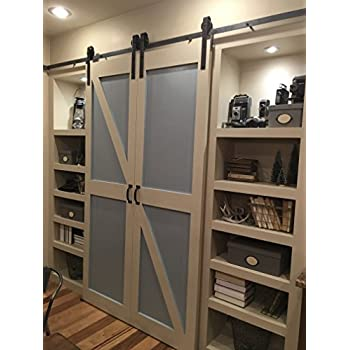 this item double door sliding barn door hardware kit with 12 feet track for two doors rustic antique country made in usa