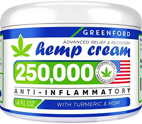 Hemp Cream for Pain Relief - 250,000 American Hemp Extract - Natural Treatment with Emu Oil, Arnica, MSM & Menthol for Muscle, Joint, Sciatica & Back Pain - Made in USA - Omega 3-6-9 Infused