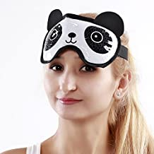 Hot Cold Face Eye Mask for Hot or Cold Therapy, Microwave Travel Sleep Eye Mask with Gel Beads, Cute Soft Ice Compress Eye Pad with Straps for Soothing Puffy Eyes, Swollen Eyes, Dark Circles, Stress