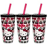 Zak! (3 Pack) Hello Kitty 16oz Insulated Tumbler, BPA-Free Plastic Drinking Cups, Cute Kids Tumbler With Stay-In Straws