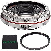 Pentax HD Pentax DA 40mm f/2.8 Limited Lens (Silver) + UV Filter + MicroFiber Cloth 6AVE Bundle