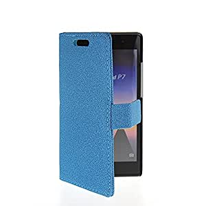 CASEPRADISE Slim Wallet Card Holder Flip Leather Etui Stand Case Cover For Huawei Ascend P7 Blue