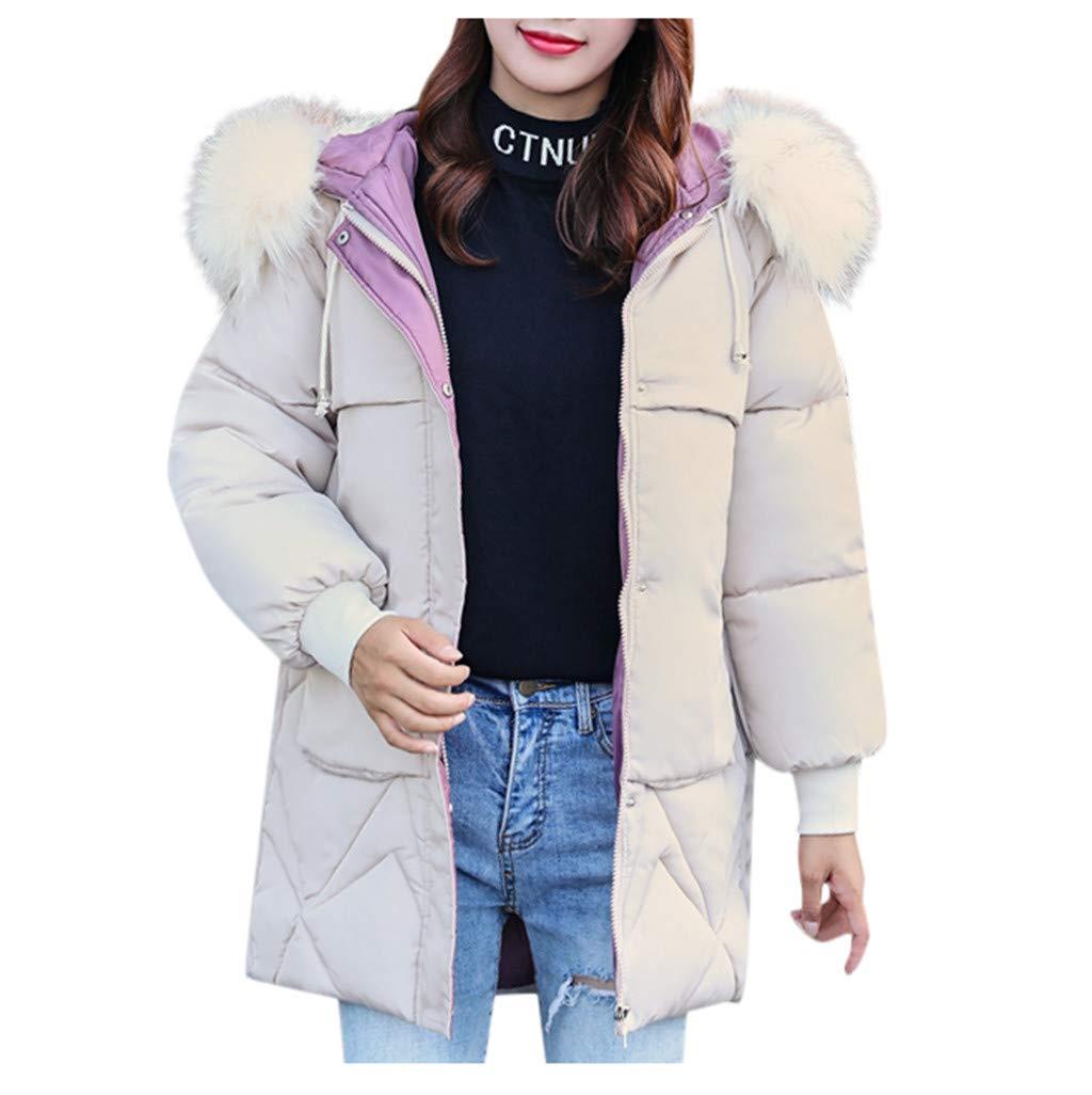 Women Ladies Warm Outerwear Zipper Coat Long Solid Faux Fur Hooded Jackets Drawstring Pocket Coats (Beige, XL) by Cealu