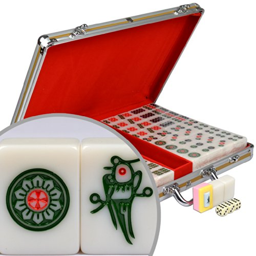Professional Chinese Mahjong with Aluminum Case and Large Tiles by Yellow Mountain Imports
