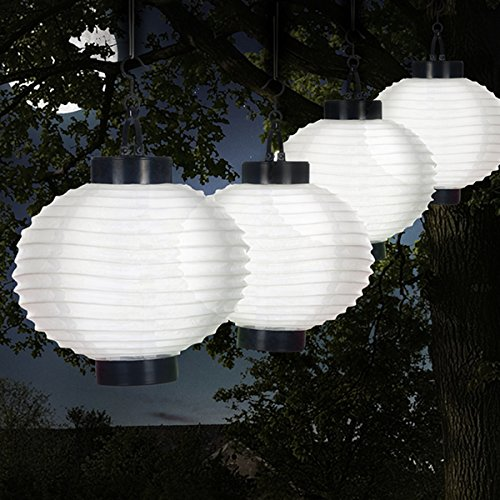 Weatherproof Outdoor Solar Chinese Lanterns LED with Rechargeable AAA Battery Set of 4, White