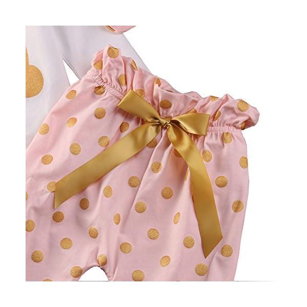 SCFEL Neonata appena nata del bambino Coniglio Stampa pagliaccetto + Dot pantaloni + fascia che coprono le Outfits 3
