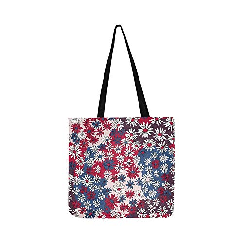 Vector Seamless Floral Pattern Chamomile Flower Canvas Tote