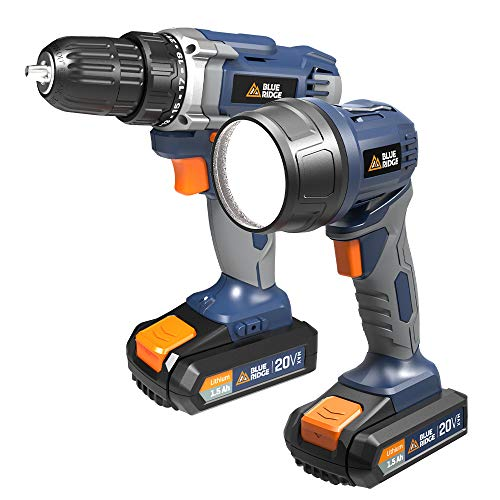 BlueRidge BR1701U 20V MAX Cordless Drill Driver and torch combo kit including two lithium batteries and charger