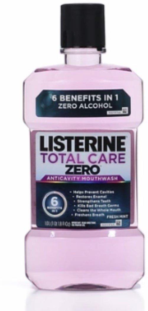 Listerine Total Care Zero Anticavity Mouthwash, Fresh Mint 33.8 oz (12 Pack)