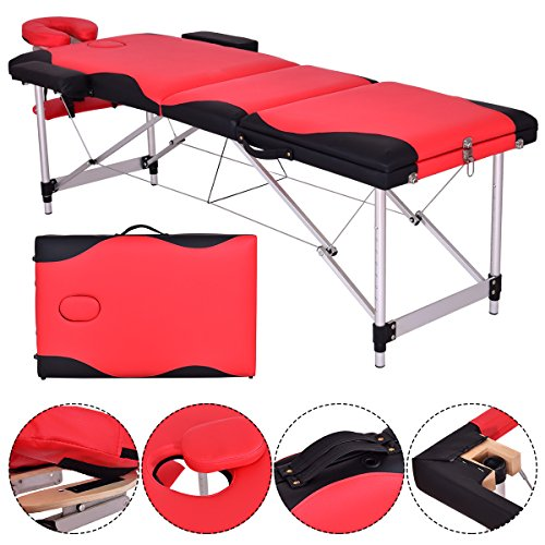 3 Folding Professional Aluminum Massage Table Bed, Reinforcement Portable Adjustable Massage for Salon Beauty Physiotherapy Facial SPA Tattoo Household(red)