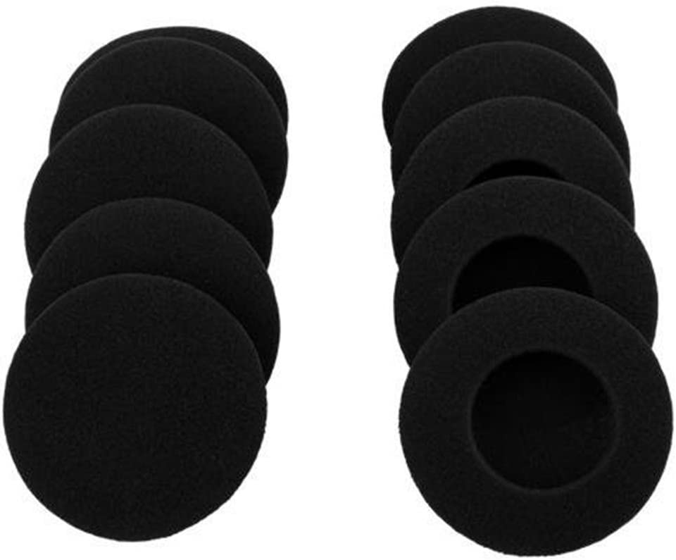 "10 Pairs 60mm/2.4"" Replacement Foam Ear Pud Earpads Sponge Cushion Covers for Logitech H600, H330, H340 / Sony MDR-G45LP,MDR-G55LP ,MDR-G410LP, MDR-G101LP, MDR-G42LP, DR-220DPV, MDR-G45 ,IF240R,SRF-HM33, MDR-027 ,MDR-222 ,SRF-H4,MDR-NC5 ,MDR-NC6s,MDR-023 / Rapoo H1030 /Koss CS100 / Jensen JHH110 /FreeTalk 5091 / Aiwa HP-CN5 /Labtec Axis 502 headset Black (BLACK)"