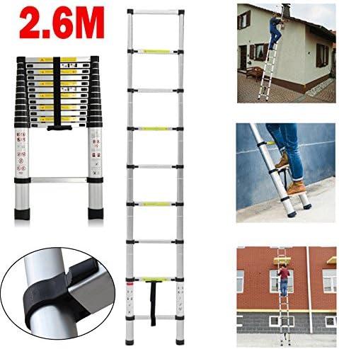 Escalera telescópica de aluminio multiusos de alta resistencia, 2,6 m, extensible: Amazon.es: Bricolaje y herramientas