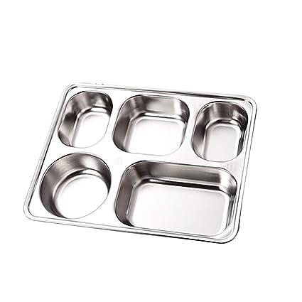 kentop Acero Inoxidable Lunch Box Plato llano Bandeja restaurante Bandeja para servir dividida Contenedor Tray para