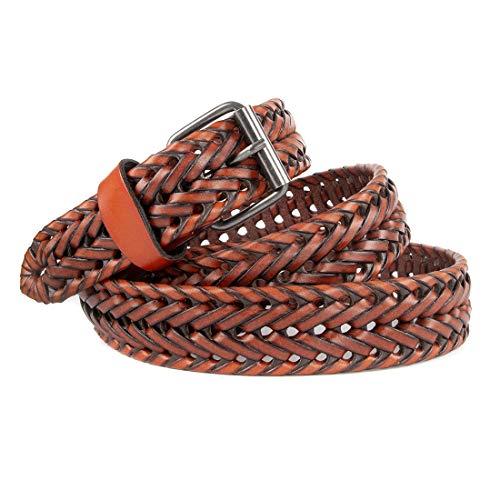 Handmade Woven Belt - VanPeng Men Casual Braided Woven Genuine Leather Belt (brown, waist:28~32)