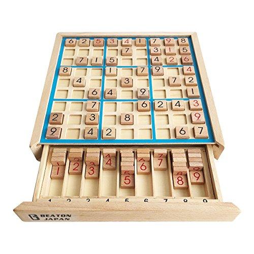 BEATON JAPAN 知育玩具 パズル 木製 ナンプレ ナンバープレース 数字 活脳 脳トレ ボードゲーム 卓上 9ブロック (ブルー)