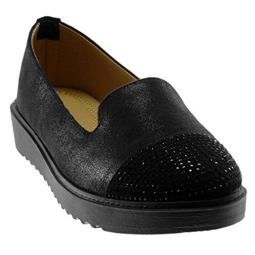 Strass Bimaterial Angkorly Zapatillas Negro Brillantes Plataforma Mocasines 3 Slip Mujer on Moda Cm rq8Xpwq