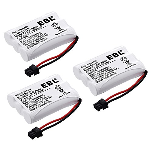 (EBL Pack of 3 BT-446 Rechargeable Cordless Phone Replacement Batteries for Uniden BT-446 BT446, BP-446 BP446, BT-1005 BT1005, 3.6V 1000mAh NiMH)