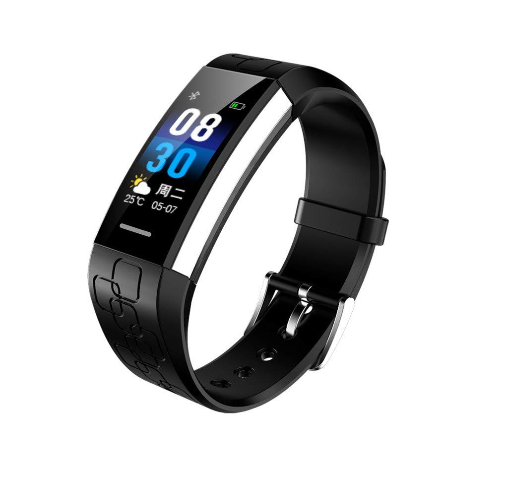 Larmly Smart Wristband Blood Pressure Heart Rate Monitor Bluetooth Fitness Watch Step Counting Sleep Management(Black) by Larmly