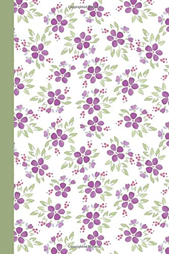 Journal: Purple Watercolor Flowers (Green) 6x9 - DOT JOURNAL - Journal with dotted pages (Watercolor Flowers Dot Journal Series)