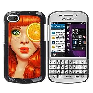 FECELL CITY // Duro Aluminio Pegatina PC Caso decorativo Funda Carcasa de Protección para BlackBerry Q10 // Ginger Orange Art Eyes