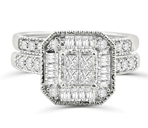 Midwest Jewellery 14K White Gold Princess Cut Bridal Set Lage Halo Baguette and Round Diamonds 1.00ctw (i2/i3,i/j) (Diamond Set Bridal Invisible)
