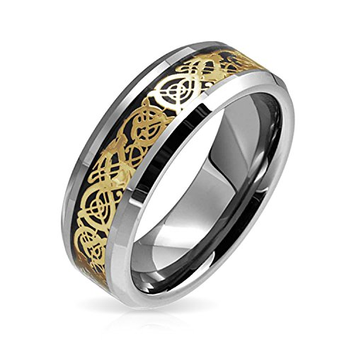Bling Jewelry Golden Black Silver Two Tone Celtic Knot Dragon Inlay Couples Wedding Band TungstenRingsforMen for Women 8MM