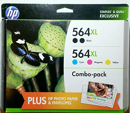 5 Value Pack (HP 564XL/564 High Yield Black and Cyan/Magenta/Yellow Color Ink Cartridges (F6V09FN#140), CVP Value Combo)