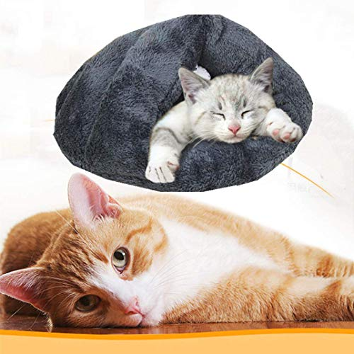 Qchomee Soft Pet House Bed Indoor Foldable Warmer Winter Sleeping Bag Bed Half Covered Slipper Shape House Cave Cozy Dog…