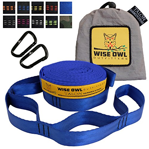 Wise Owl Outfitters Talon Hammock Straps - Combined 20 Ft Long, 38 Loops W/ 2 Carabiners - Easily Adjustable, Tree Friendly Must Have Gear For Camping Hammocks Like Eno Blue (Hammock Deluxe Explorer)