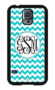 iZERCASE Samsung Galaxy S5 Case Monogram Personalized Turquoise Chevron Pattern with White Circle RUBBER CASE - Fits Samsung Galaxy S5 T-Mobile, Sprint, Verizon and International (Black)