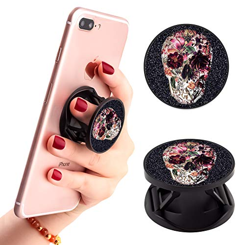 Floral Skull Art Phone Finger Foldable Expanding Stand Holder Kickstand Hand Grip Car Mount Hooks Widely Compatible with Almost All Phones/Cases