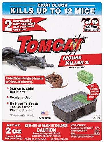 Tomcat Mouse Killer II, 4-Pack (Kid Resistant Disposable Mouse Bait Station)