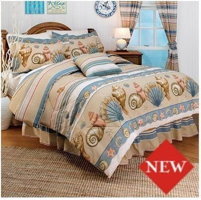 Coral Seashell Beach House Themed King Comforter