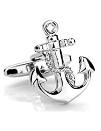 LBFEEL Nautical Anchor Cufflinks for Men in 3 Colors with a Gift Box
