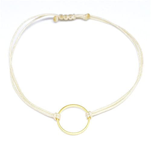 Online-Verkauf erstaunlicher Preis Rabatt zum Verkauf Kreis Armband Gold - Beige, Textilarmband für Damen, Größenverstellbar