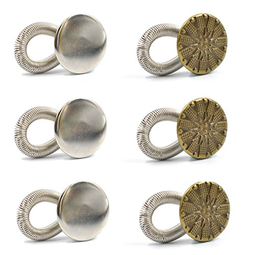 eZAKKA 6Pcs Waistband Extender No Sew Adjustable Elastic Spring Metal Button 20mm Jeans Collar Button Pant Extenders for Men Women Maternity -
