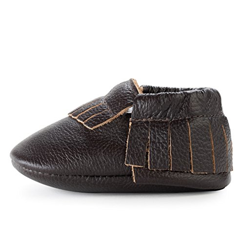 BirdRock Baby Moccasins - Soft Sole Leather Boys and Girls Shoes for Infants, Babies, and Toddlers (Toddler | 2-3 Years | US 8, Espresso) (Leather Soft Boys)