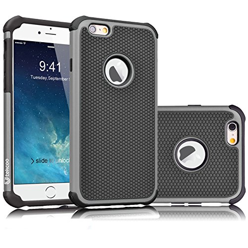 (Tekcoo iPhone 6S Case, Tekcoo iPhone 6 Sturdy Case,[Tmajor] for iPhone 6 / 6S (4.7 INCH) Case Shock Absorbing Impact Defender Slim Cover Shell w/Plastic Outer & Rubber Silicone Inner [Gray/Black])