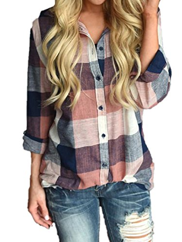 Voopptaw Womens Casual Roll-up Sleeve Button Down Colorblock Plaid Linen Shirt Top