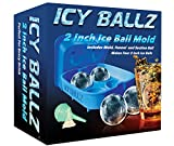 Silicone Ice Ball Maker Mold - Makes Four Giant 2 Inch Ice Balls - Slow Melting For Lasting Flavor - Whiskey Ice Ball Maker Tray -1 Year Guarantee - by Icy Ballz