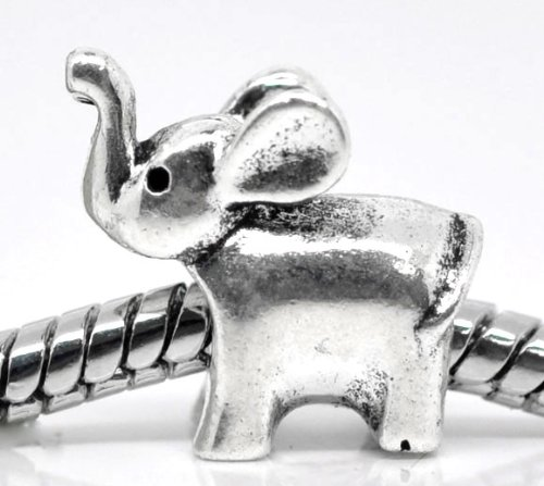 PEPPERLONELY 20pc Antiqued Silver Alloy Large Hole Elephant Beads Charms Pendants 14x13mm (1/2