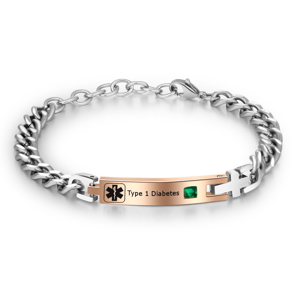 Lam Hub Fong Free Engraving 6.88 Inches Medical Alert Bracelet for Women Medical ID Bracelets with Simulate Birthstones for Kids