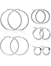 5 Pairs Stainless Steel Hoop Earrings Set for Women Girls(10mm-50mm) (Silver)