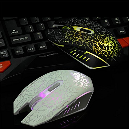 VEGCOO C10 Wireless Gaming Mouse Rechargeable Silent Optical Mice with 7 Colors LED Lights, 7 Buttons with 2400/1600/800DPI (Black) by VEGCOO (Image #4)