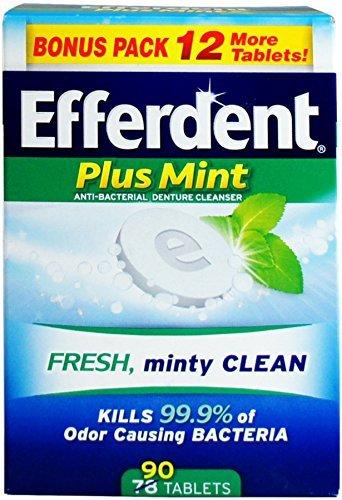 Efferdent Plus Mint Denture Cleanser Tablets 90 ea (Pack of 5) - Efferdent Plus Tab