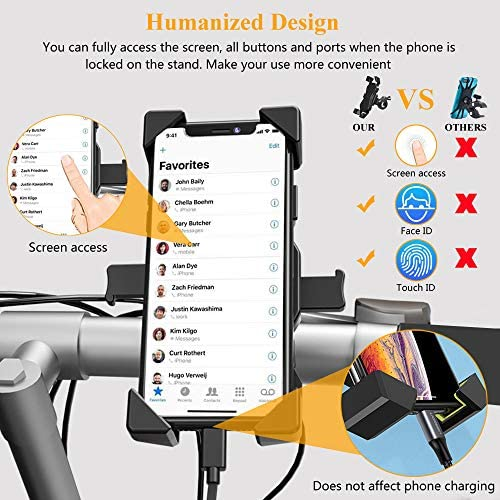 Bike Phone Mount Black BAVNCO 360/° Rotation Adjustable Bicycle Motorcycle Universal Detachable Phone Mount Holder for iPhone 11 MAX XR X 8 7 6S Plus//Samsung Galaxy S10 S9 S8 Plus Note 10 8// LG More