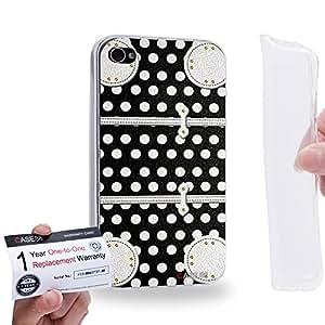Case88 [Apple iPhone 4 / 4s] Gel TPU Carcasa/Funda & Tarjeta de garantía - Art Fashion Black Dot Luggage 1869