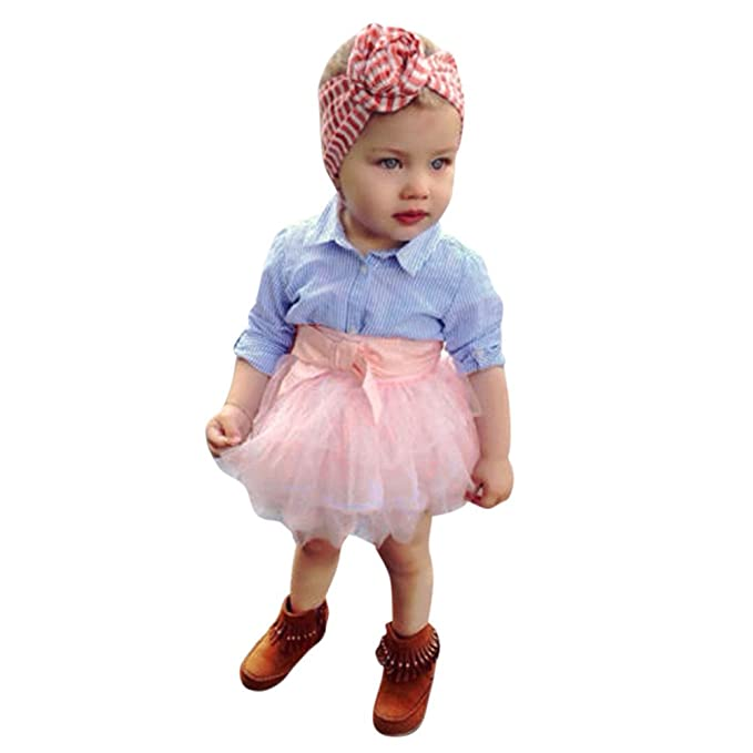 Ropa Bebé, 2Pcs Bebés niño niñas Bow Tops a Rayas Camisas Blusa + Falda tutú