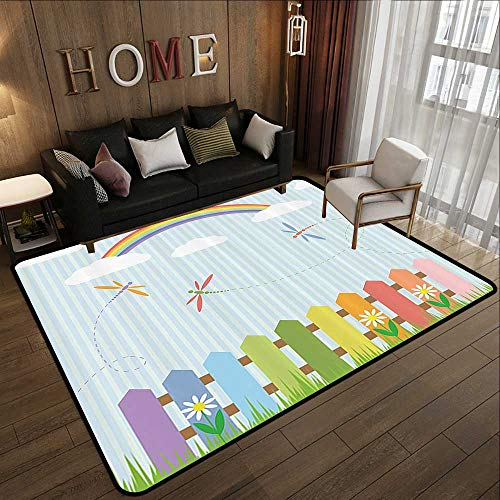 "Floor mats,Country Decor Collection,Colorful Dragonflies Drifting Over Fences on a Sunny Rainbow Day Kids Nursery Striped Theme,MUL 78.7""x 94"" Anti-Skid Area Rug"